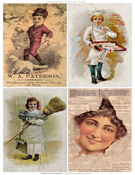 Old Advertisement Cards Labels Image Scrapbooking Cards Tags Ephemera Digital Arts Instant Download Paper Art Decoupage