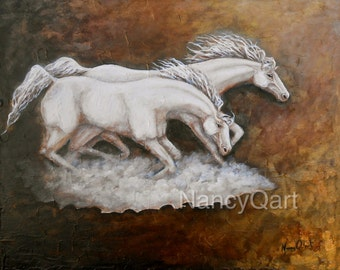 Running horses wall art, bronze horse painting print, white horses art, original painting by Nancy Quiaoit
