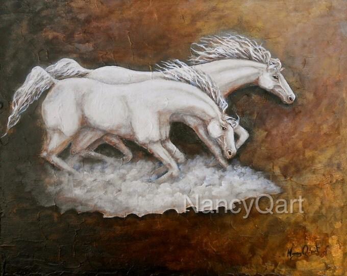 Running horses wall art, bronze horse painting print, white horses art, original painting by Nancy Quiaoit