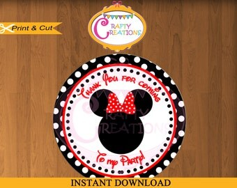 Minnie Mouse RED Favor Tags - Sticker- Party Tags- Thank You Tags- Gift Tags- Birthday -Printable- INSTANT DOWNLOAD - CraftyCrearionsUAE