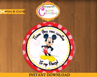 Printable Mickey Mouse Stickers - Favor Tag- Party Tags- Thank You Tags- Gift Tags- Mickey Birthday - INSTANT DOWNLOAD - CraftyCrearionsUAE