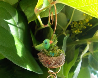 Lil' Bird Perched on Hanging Acorn Bird Nest Miniature Garden Fairy Garden Plant Terrarium Accessory