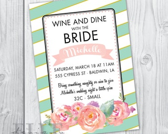 Mint and Gold Bridal Luncheon Invitation