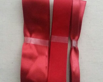 True red, Crimson red, red satin and matte ribbon bundle.