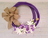 Summer Wreath, Garden Hose Wreath, Spring Wreath, Garden Decor , Lavendar Garden Hose with Burlap Bow