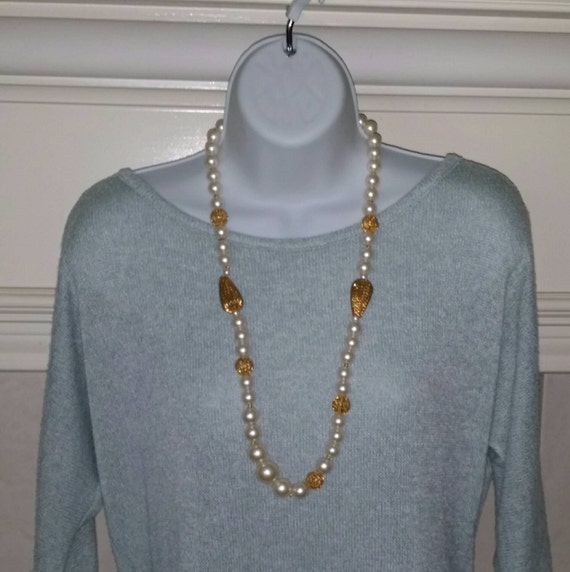 Pearl (faux) gold filigree vintage necklace FREE Shipping PRICE REDUCED!