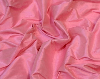 "Iridescent Cherry Blossom Pink Dupioni Silk, 100% Silk Fabric, 54"" Wide, By The Yard (S-270)"