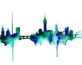 Dublin Ireland Skyline Watercolor Painting Print -  Home decor and scenic wall art Ireland aqua and blue artwork