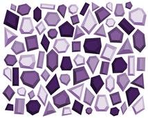 Gemstone Clip Art // Digital Diamond Clipart // Geometric Clipart // Digital Jewels // Amethyst Clip Art // Digital Purple Clip Art