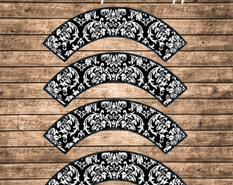 DIY Black Damask Cupcake Wrappers Printable Cupcake Wrapper