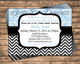 Personalized Blue Damask and Black Chevron Baby Shower Invitation - Printable Digital File