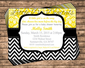 Personalized Yellow Damask With Black Chevron Baby Shower Invitation - Printable Digital File