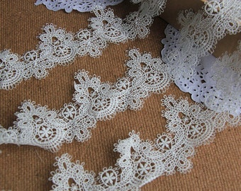 White Floral Lace Trim Embroidery Hollowed Out Lace Trim 1.97 Inch Wide 2 Yards