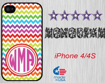 iPhone 4 iPhone 4S Monogram Personalized iPhone iPhone 4S case iPhone 4 Monogram iPhone 4S Personalized iPhone 4 iPhone 4s  Colorful Chevron