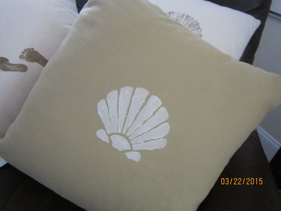 REDUCED!!  Reversible beach and seashell inspired throw pillow 16 inches square