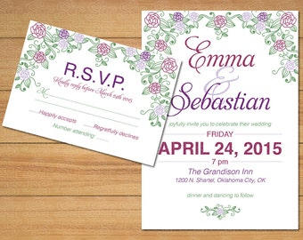 Wedding Flowers Set, Wedding invitations set, Wedding floral set, Wedding Kit, Custom Wedding set