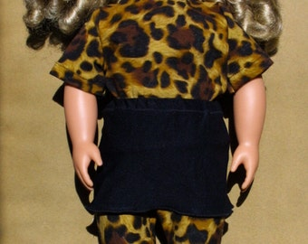 Cute handmade Leopard print leggins and top with black skirt for 18 inch dolls