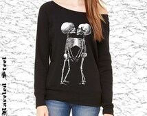 Siamese Twins - Conjoined Twins - Black with White - Off Shoulder - Ladies - Sweatshirt - Halloween - Goth