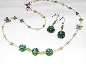 Handcrafted Green Fused Glass Necklace and Earrings - Green Recycled Glass