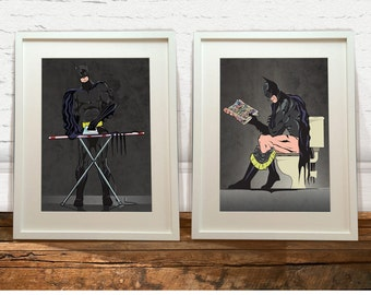 Batman on the Toilet and Batman Ironing Art Prints