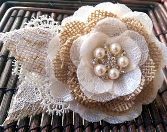 Rustic Romantic Burlap and Lace Hair Flower Fascinator, Burlap Lace Bridal Flower, Burlap Wedding Flower Fascinator, Burlap Hair Flower