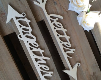 """wedding chairs wooden """"better together""""  arrows,  mine-yours,  HIS HERS,  """"true love"""", """" better together"""", """" Mr Mrs"""", Sr-Sra"""