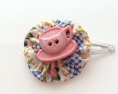 Light Pink Teacup Snap Clip Barrette for Girls - Floral Print Fabric Flower Hair Clip - Pink and Blue Hair Clip for Girls - Tea Party Clip