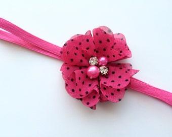 Coming Home Headband -New Infant Headband - Take Home Pink Flower Headband - Going Home Headband - New Infant Headband with Hot Pink Flower