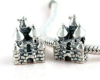 Sterling Silver Charm  Castle , European Style Charm Bead