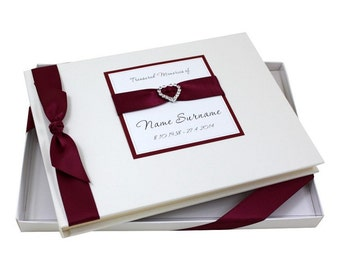Condolence Book - Diamante Heart