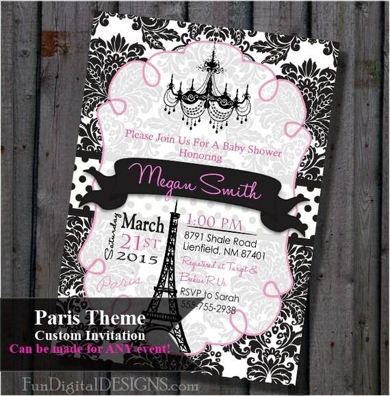 paris baby shower invitation pink and black eiffel tower chandelier