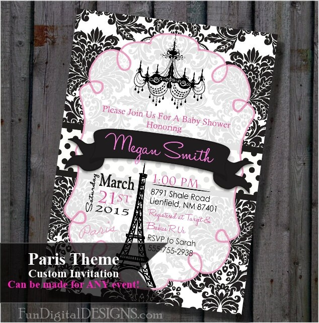 paris baby shower invitation pink and black eiffel tower
