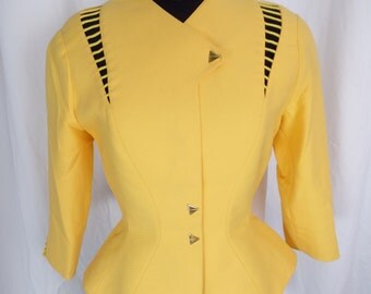 80s Thierry Mugler yellow  fitted blazer/ rope lacing detail cutouts/ triangle snaps/ hourglass shape/ Paris France: size 38 = US 8