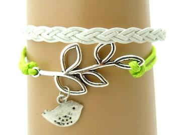 Green Leather Leaf bracelet, Handmade White Bird Bracelet ,Friendship Leather Bracelet