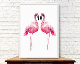 Flamingos Watercolor Painting Animal Pink Home Decor Pink Bird Giclee Print