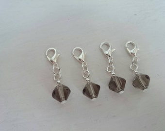 Glass bead stitch markers - Grey