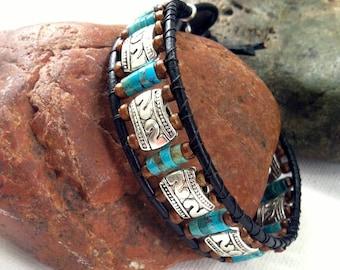 Men's Bracelet, Mens Turquoise bracelet, men's gifts, gifts for him, men's leather bracelet, gifts for him, men's beaded bracelet, dad gift