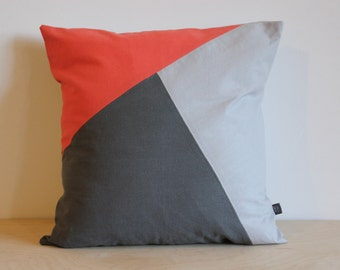 20x20 ColorBlock Pillow in Coral and Gray Linen by AylaGrayDesigns Modern Home Decor | ColorBlock Geometric cushion