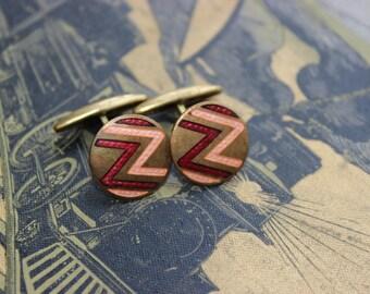 Vintage enamel cufflink brass art deco new old stock