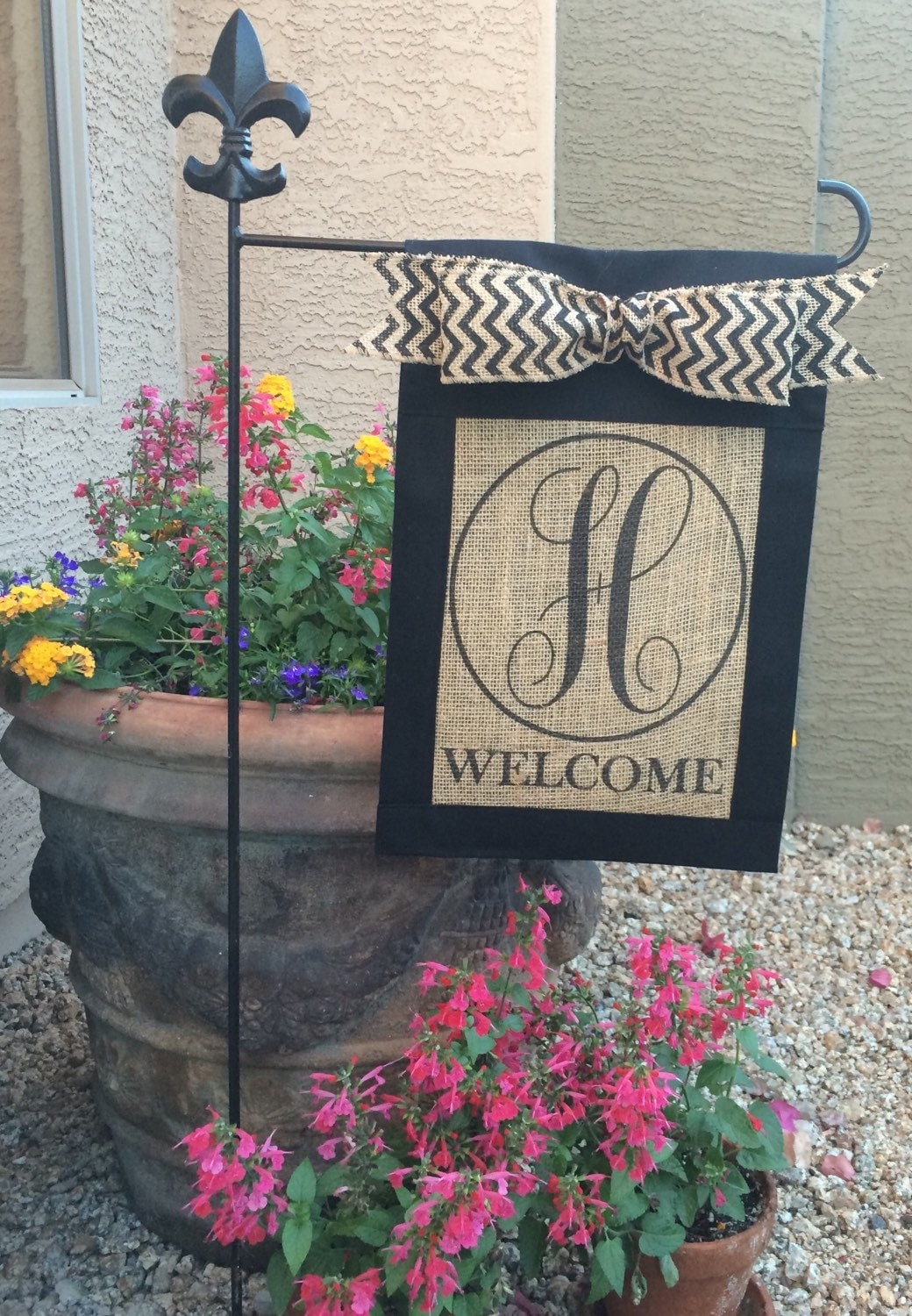 Custom Personalizedmonogrammed Burlap Welcome Garden Flag