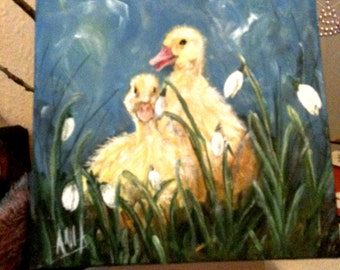 "Original Acrylic Painting ""Joyful ducks"" on canvas 20cm x 20cm"