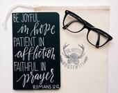 Personalized prayer journal, scripture gift, Romans 12:12, be joyful in hope