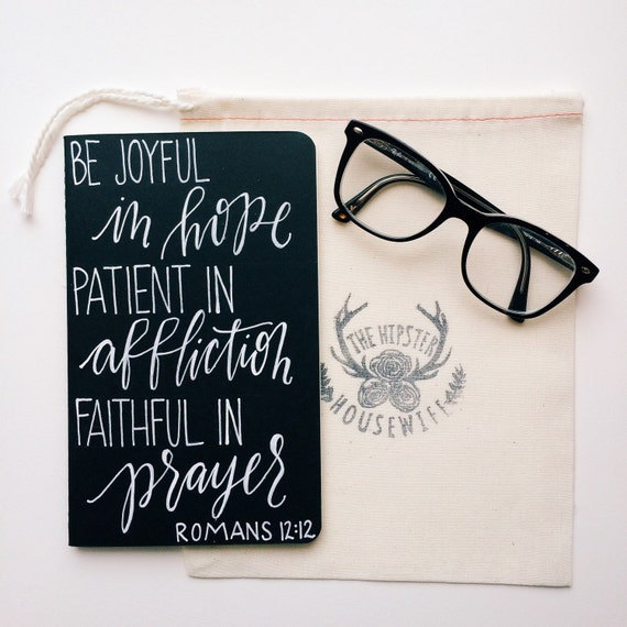 Personalized prayer journal, scripture gift, Romans 12:12, be joyful in hope