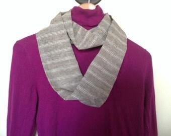 Infinity Scarf ~ Khaki Stripes *Handmade*