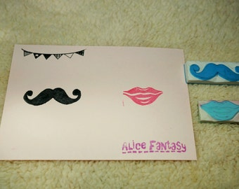Mustache and Lip stamp set for two, handmade stamp, wedding stamp, kiss stamp, engagement stamp
