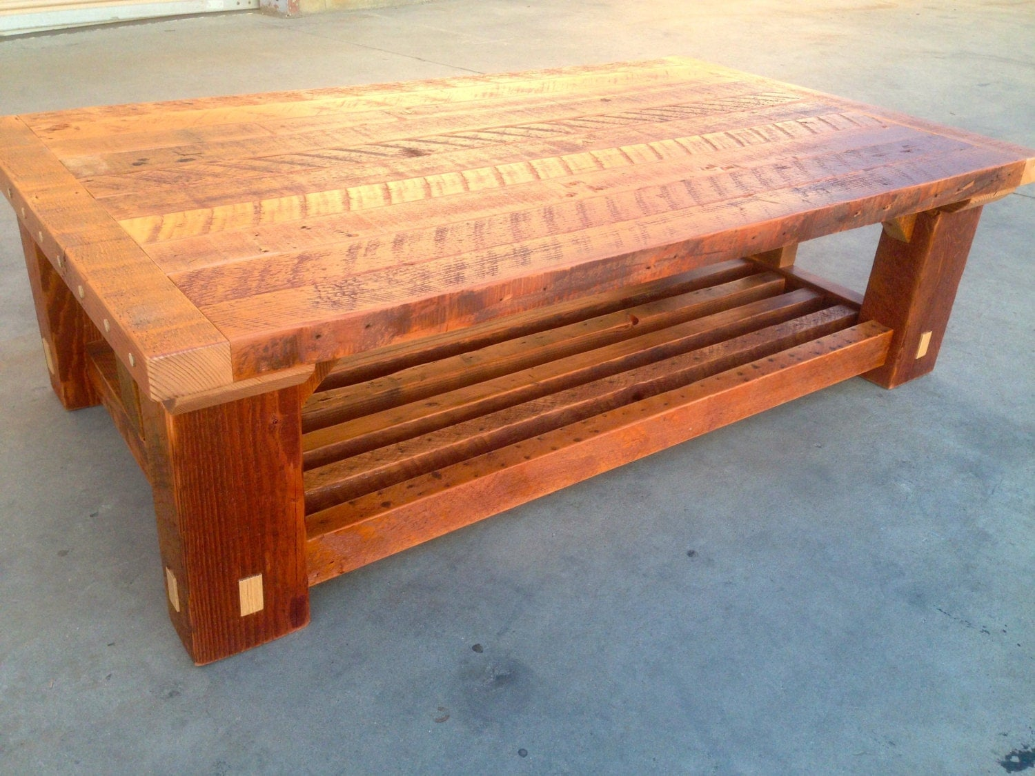 Farm style solid reclaimed wood coffee table Farm style coffee tables