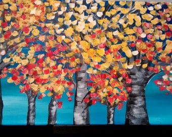 Original textured red, yellow, and blue birch tree painting