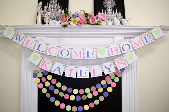 Baby shower decor welcome home baby banner and garland set for Baby welcome party decoration ideas