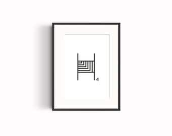 """Wall art, """"H"""" typography poster"""