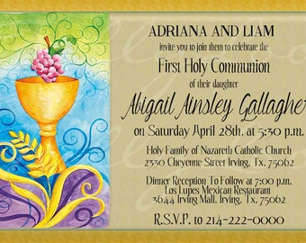 First Communion Invitation, First Holy Communion, 1st Communion Invite, One with God